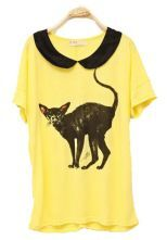 Vintage Collar Printed Bat-sleeved T-shirt Yellow