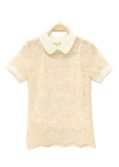 Lapel Short-sleeved Lace T-shirt Beige