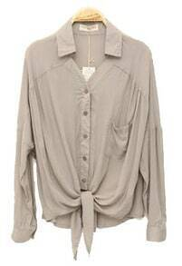 Solid Lapel Bat Long-sleeved Shirt Grey
