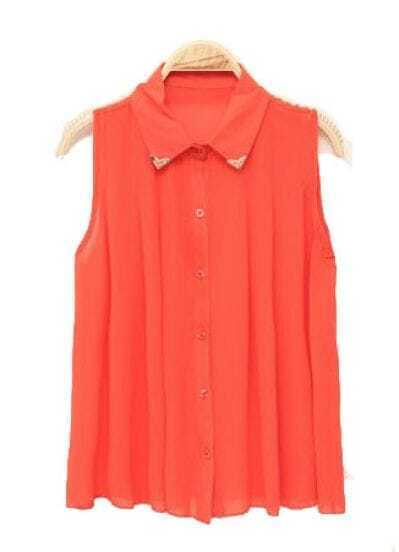 Lapel Sleeveless Pleated Chiffon Shirt Orange