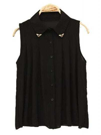 Lapel Sleeveless Pleated Chiffon Shirt Black