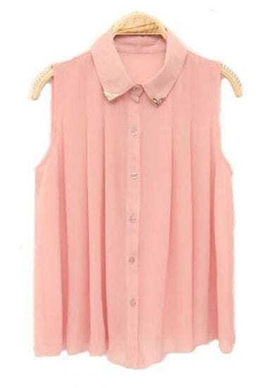 Lapel Sleeveless Pleated Chiffon Shirt Pink