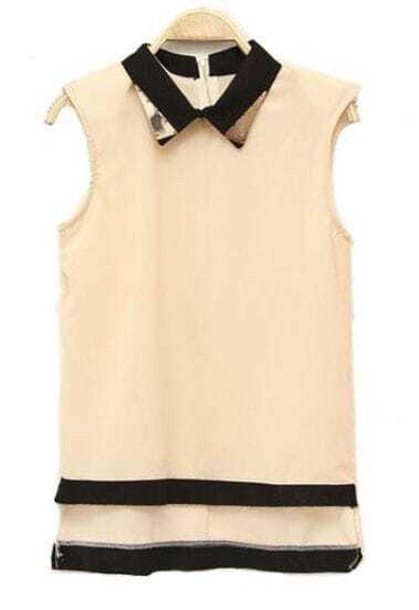 Solid Lapel Sleeveless Chiffon Shirt Beige