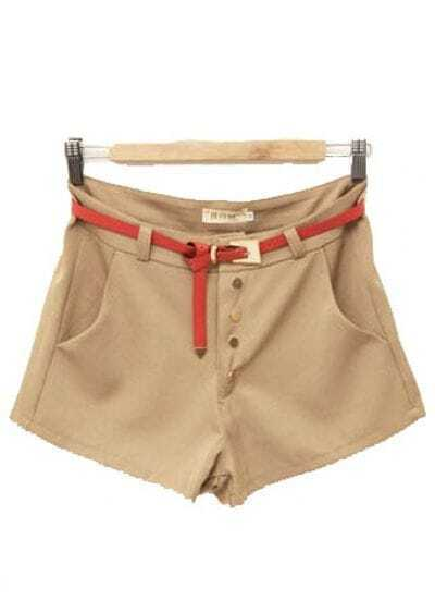 Mid-waist Straight Cotton Shorts Kaki