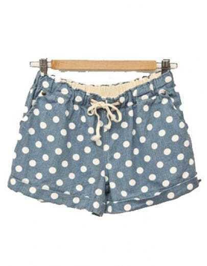 Polka Dot Low-waist Straight Cotton Shorts