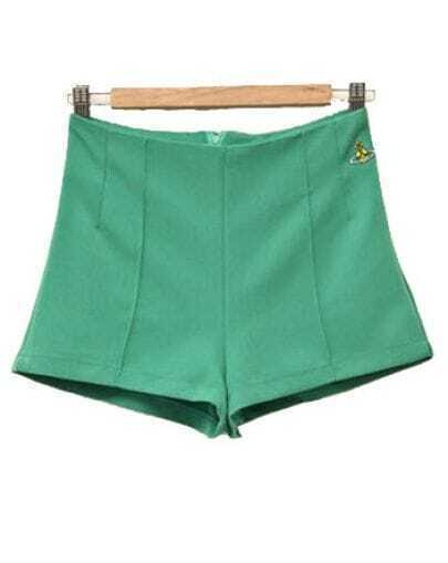 Solid Straight Cotton Shorts Green