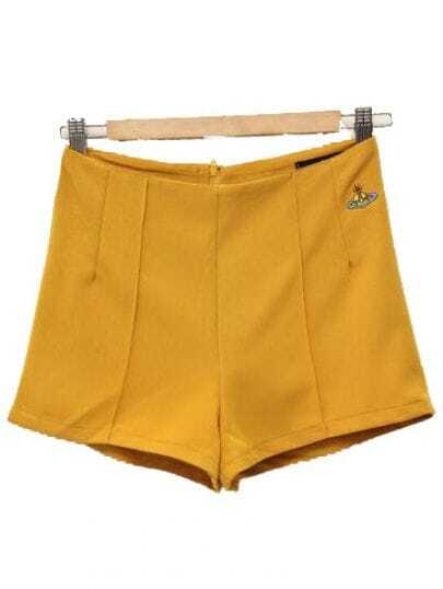 Solid Straight Cotton Shorts Yellow