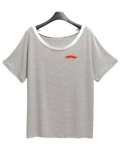 Grey Striped Short Sleeve T-shirt with Moustache Brooch