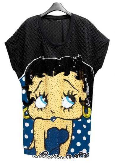 Cartoon Printed Sequined Loose Long T-shirt Blue