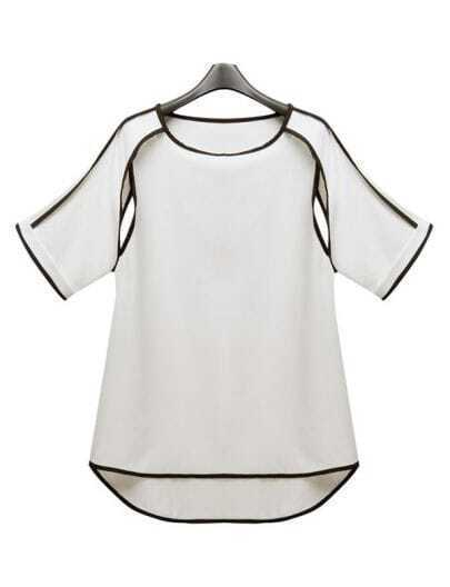 Solid Round Neck Hollow Chiffon Shirt
