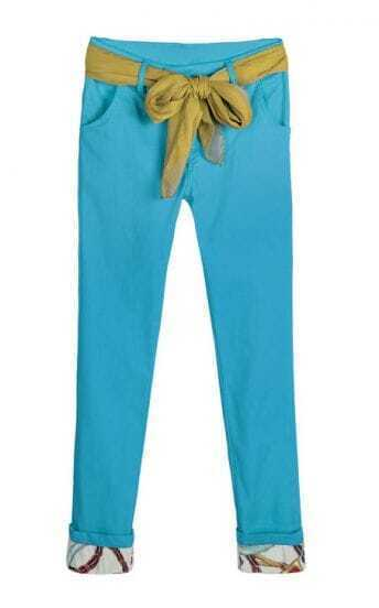 Candy Color Drawstring Waist Skinny Cotton Pant Blue