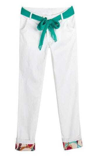 Candy Color Drawstring Waist Skinny Cotton Pant White