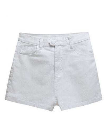 Candy Color Pockets All-match Shorts White