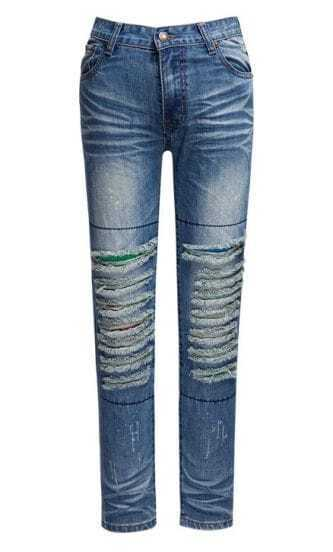 Hollow Low-waist Blue Denim Pant
