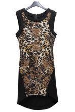 Leopard Sleeveless Slim Zipped Irregular Dress