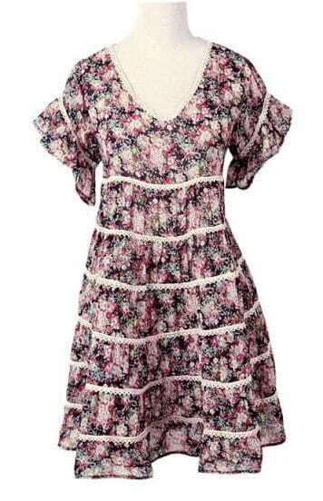 Lace Floral Round Neck Short-sleeved Dress