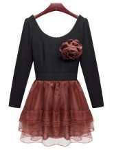 Zipped Round Neck Long-sleeved Slim Dress Red