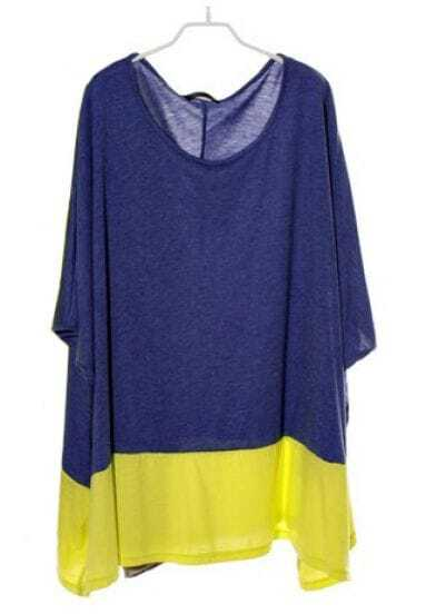 Neon Yellow Blue Batwing Sleeve Loose Cotton T-shirt