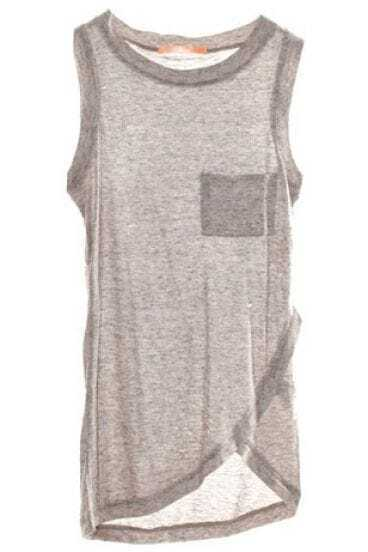 Grey Pocket Criss Cross Hem Sheer Tank Vest