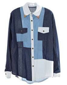 Color Matching Long-sleeved Denim Shirt