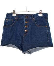 High-waist Solid Straight Denim Shorts