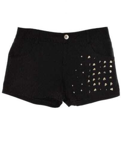 Rivet Mid-waist Straight Shorts