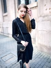 Button Stand-collar Long-sleeved Chiffon Dress Black