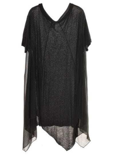 Stiching Chiffon Shot-sleeved Loose Dress