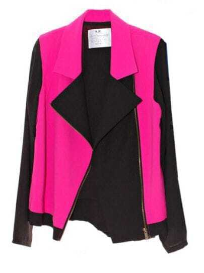 Color Matching Lapel Long-sleeved Chiffon Coat Red