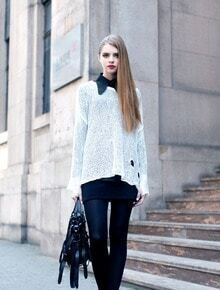 Beading Solid Bat-sleeved Hollow Sweater White