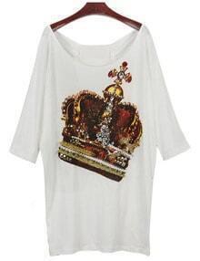 White Beading Crown Print Three Quarter Length Sleeve T-shirt