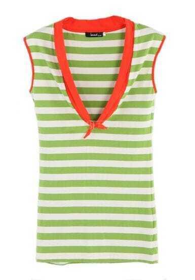 Green White Striped Low Cut Tie Neck Sleeveless Cotton T-shirt