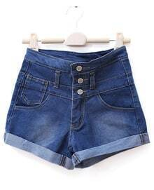 Mid-waist All-match Casual Straight Denim Shorts