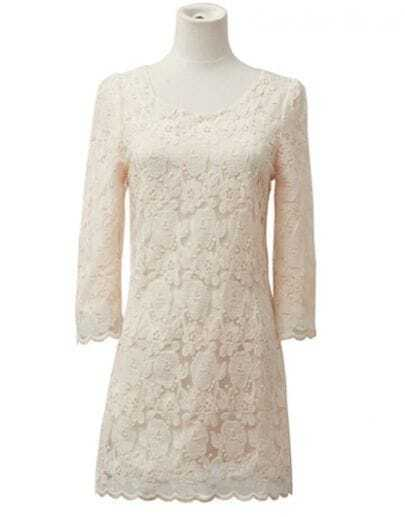 Solid Round Neck Half-sleeved Lace Dress