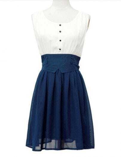 Color Matching Sleeveless Chiffon Dress
