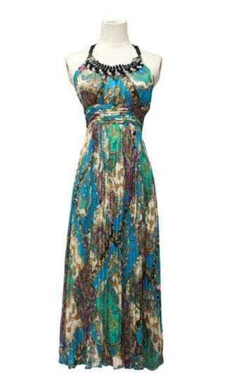 Bohemia Beading Printed Halter Chiffon Dress Blue