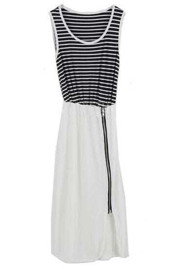 Zipped Striped Sleeveless Slim Dress White