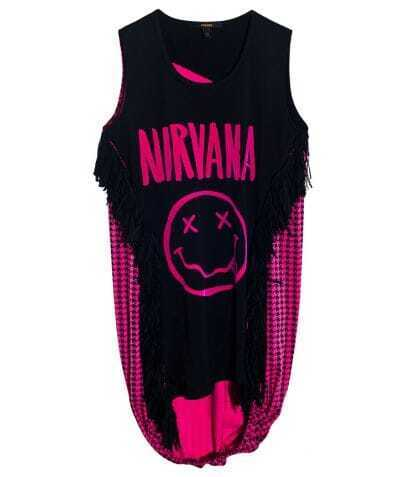 NIRVANA Smile Face Print Sleeveless T-shirt Patched Plaid Dipped Hem Back