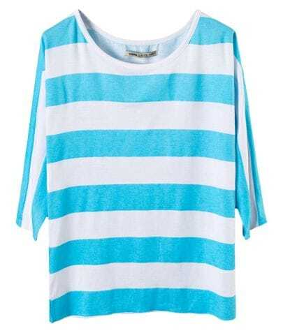 Turquoise and White Wide Stripe Half-sleeved T-shirt