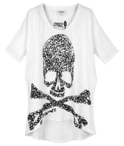 White Skull Warning Print Short Sleeve Dipped Hem T-shirt