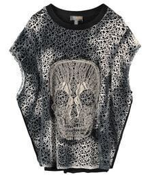 Skull Printed Short-sleeved Black T-shirt