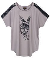 Stiching Lace Cartoon Printed Loose T-shirt
