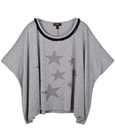 Grey Star Print Short Sleeve Poncho T-shirt