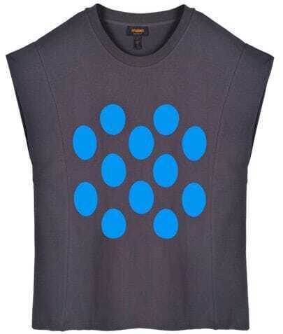 Blue Polka Dot Round Neck Oversize Coffee T-shirt