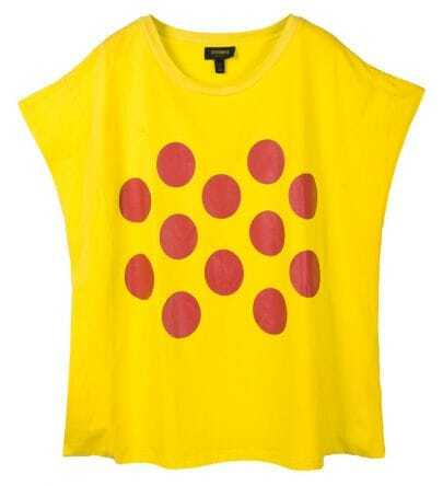 Polka Dot Round Neck Oversize Yellow T-shirt