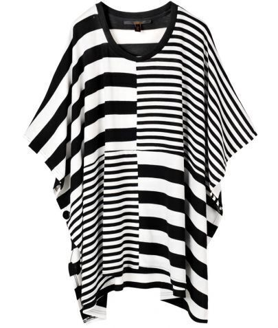 Black and White Striped Panel Patched T-shirt