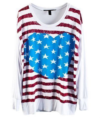 Stripe And Star USA Flag Printe Long Sleeve T-shirt