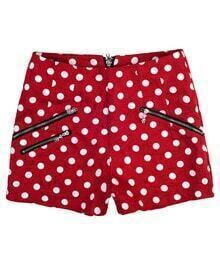 Zippered Polka Dot Low-waist Shorts Red