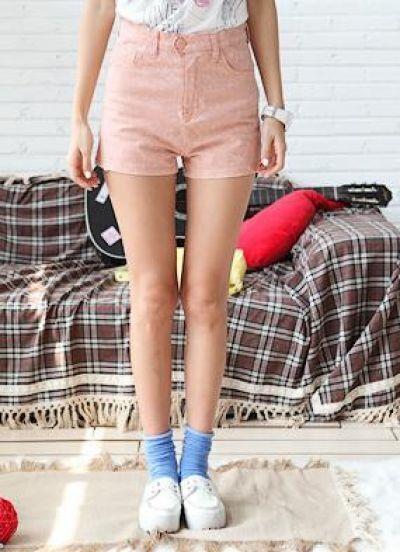 Pink Rinse Snowflake Print High Waist Shorts