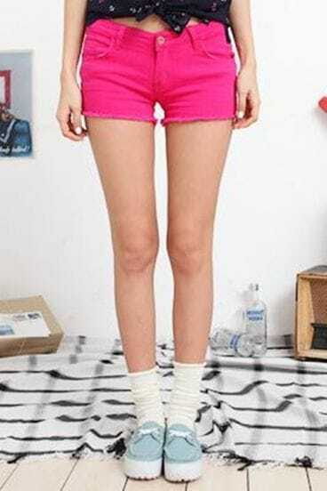 Rose-red Edging Denim Low Waist Shorts